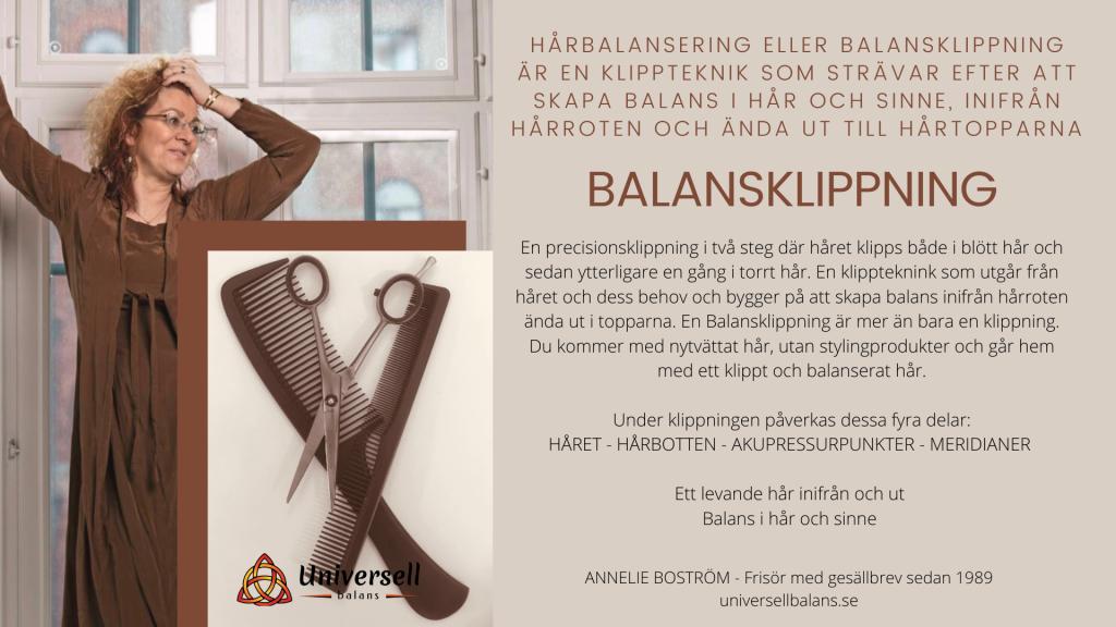 Balansklippning.Hårbalansering.Hairbalancing. universellbalans